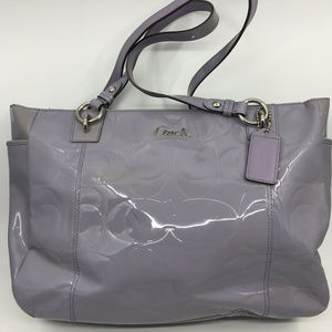 COACH Purple Gray Patent Leather Shoulder Bag